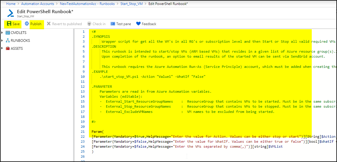 Custom runbook (using powershell) to start/stop azure VM in