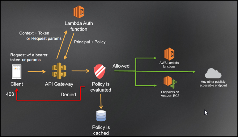 How to access AWS API Gateway Endpoints secured by Custom