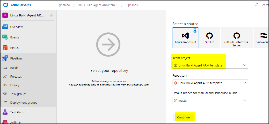 How to create self hosted Linux Build Agent using azure
