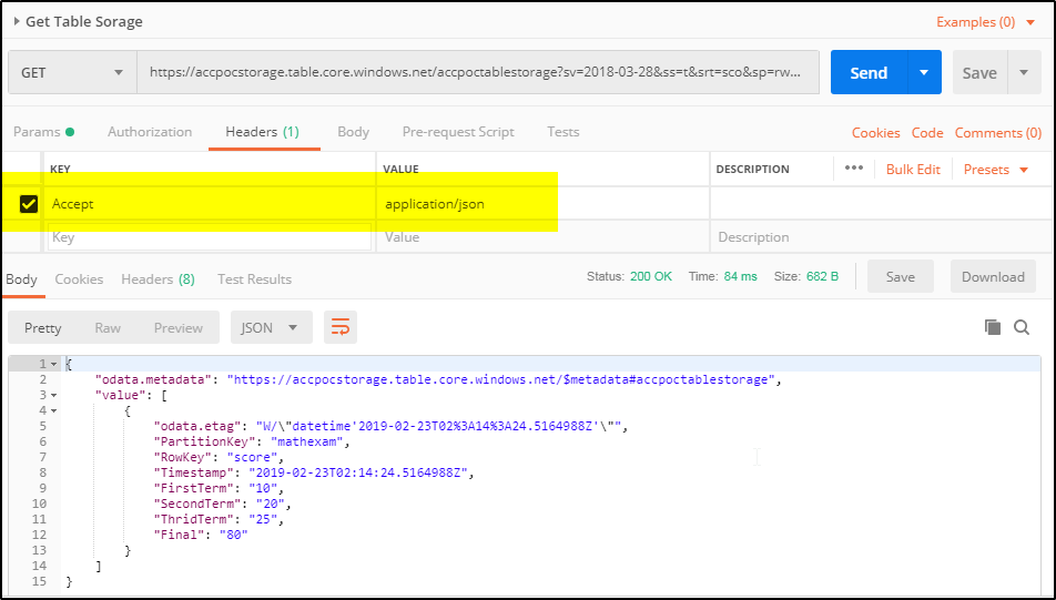 Azure table storage service REST API operations using POSTMAN – A
